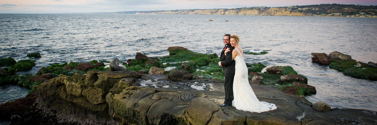 Bridal couple at La Jolla Cove - Photo by ABM Photography