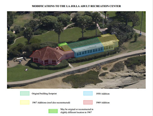 Image showing modifications to the La Jolla Cove Bridge Club over the years